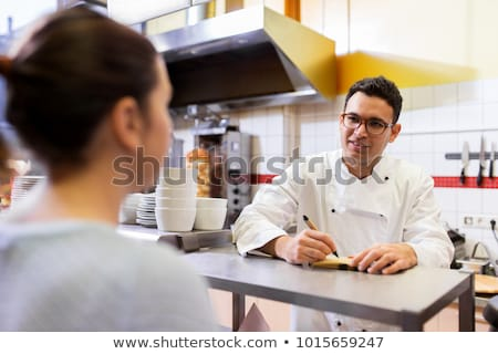 happy chef at kebab shop or fast food restaurant stock photo © dolgachov