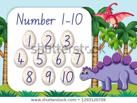 Count number one to ten dinosaur theme Stock photo © colematt