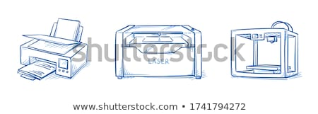 3d printing scanner hand drawn outline doodle icon stock photo © rastudio