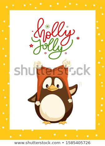 Holly Jolly Greeting Card in Frame and Penguin Stock photo © robuart