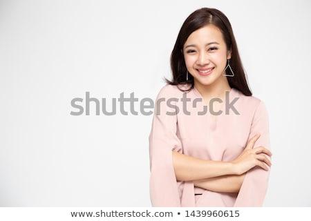 Asya · kadın · alışveriş · gülümseme · alışveriş · çantası - stok fotoğraf © deandrobot