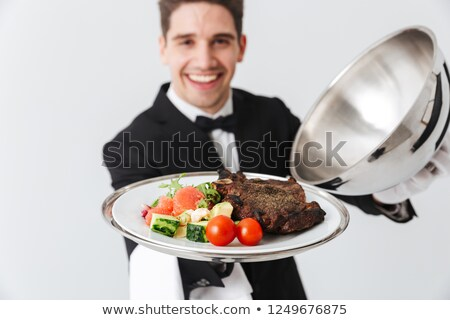 Glücklich Kellner Fleisch Gericht Stock foto © deandrobot