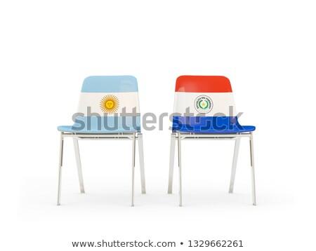 два стульев флагами Аргентина Парагвай изолированный Сток-фото © MikhailMishchenko