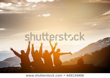 friends or travelers with backpacks hiking Stock photo © dolgachov