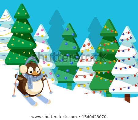 Merry Christmas Penguin Skiing Active Winter Hobby Foto stock © robuart