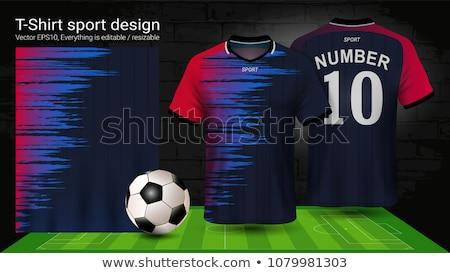 Tshirt spor tasarım şablonu futbol yukarı futbol Stok fotoğraf © kup1984