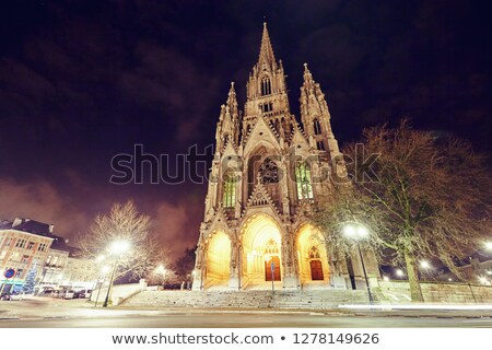 Chiesa signora notte l'esposizione a lungo shot Bruxelles Foto d'archivio © frimufilms