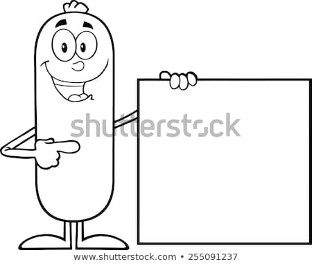 Black And White Sausage Cartoon Character Pointing To A Blank Sign Stock photo © hittoon