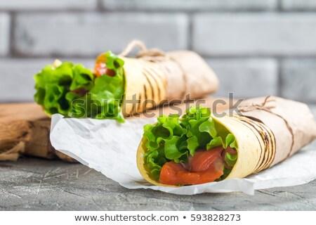 Tortilla zalm groenten kaas steen Stockfoto © Alex9500