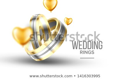 Wedding Golden With Platinum Rings Banner Vector Stock photo © pikepicture