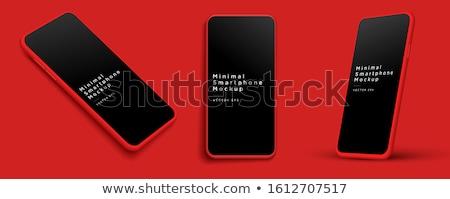 red smartphone vector mockup isolated on white stock photo © tashatuvango