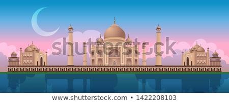 Tramonto Taj Mahal India panoramica vettore fiume Foto d'archivio © MarySan