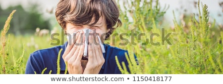 Young man sneezes because of an allergy to ragweed BANNER, long format Stock photo © galitskaya