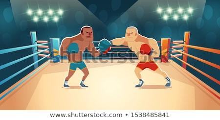 Perigoso boxeador maduro azul couro Foto stock © pressmaster