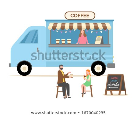 Coffee Shop, Trailer with Seller Types of Beverage Stock photo © robuart