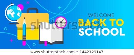 Vissza az iskolába promo vízszintes szalag poszter háló Stock fotó © ikopylov