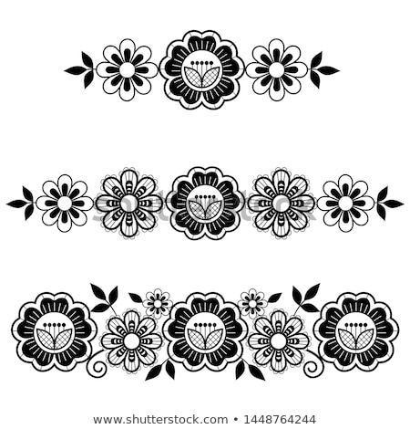 Lace vector long horizontal pattern set, design with flowers and swirls, detailed lace motif in blac Stock photo © RedKoala