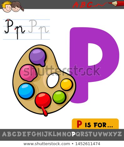 letter P worksheet with palette with paints Stock photo © izakowski