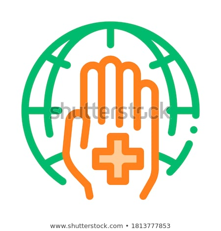 cross on hand palm planet vector thin line icon stock photo © pikepicture
