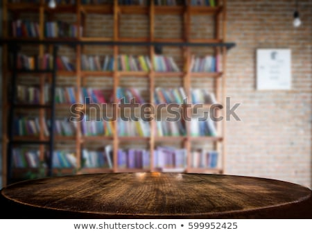 Gekozen focus lege oude houten tafel bibliotheek Stockfoto © Freedomz