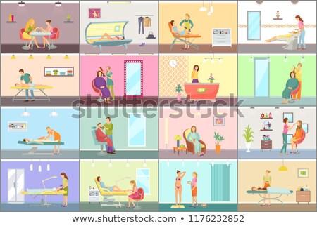 Haren receptionist make ingesteld vector Stockfoto © robuart