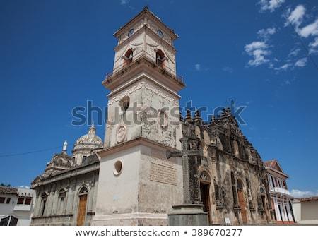 La kerk Blauw skyline panorama stadsgezicht Stockfoto © benkrut