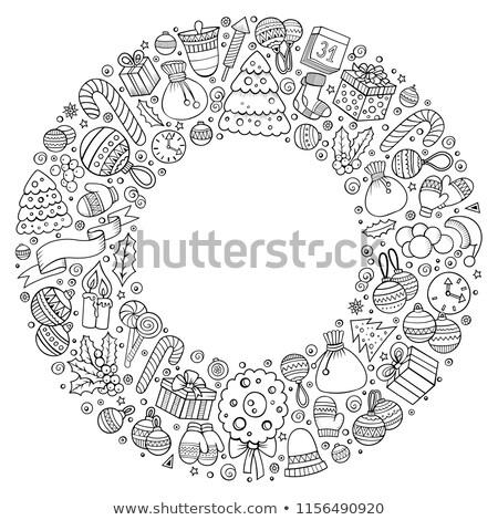 colección · Navidad · objetos · dibujado · a · mano · lápiz · acuarela - foto stock © balabolka