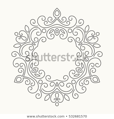 Filigree Heraldry Leaf Pattern Floral Border Frame Stock photo © Krisdog
