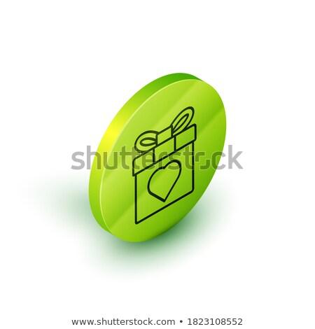 green circle gift box isometric object stock photo © anna_leni