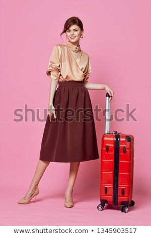 счастливая девушка коричневый юбка иллюстрация девушки улыбка Сток-фото © bluering