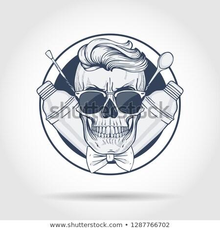 Szkic barman czaszki broda wibrator Zdjęcia stock © netkov1