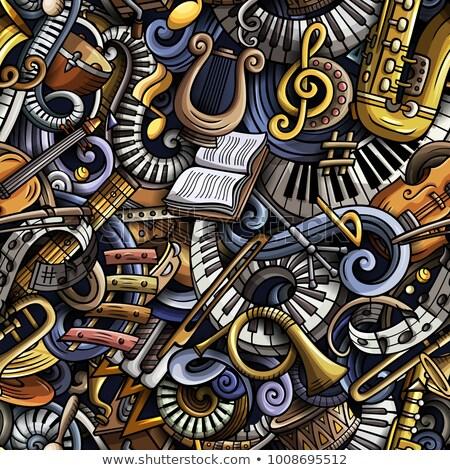 cartoon hand drawn classic music seamless pattern stock photo © balabolka