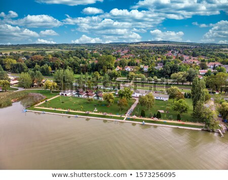 Aerial drone picture from a lake Balaton of Hungary, Balatonbereny Stock photo © digoarpi