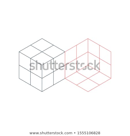 Two 3D Isometric cube geometric shapes puzzle built. Modern design template. Stock Vector illustrati Stock photo © kyryloff