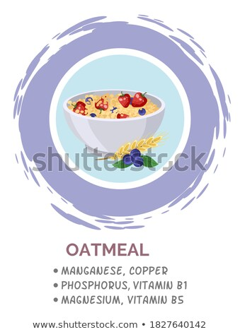 Banner with Healthy vegetarian breakfast. Oatmeal, granola with raspberries Stock photo © Illia