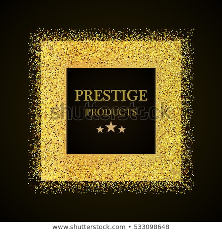 Vector black and gold abstract square luxury frame. Sparkling sequins on black background. Premium Stock photo © Iaroslava