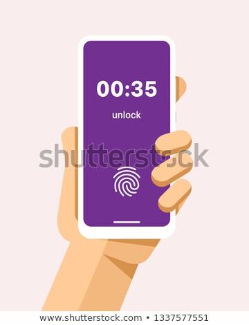 Hand smartphone vingerafdruk slot scherm vector Stockfoto © karetniy