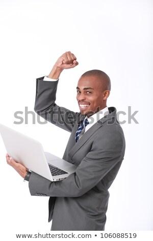 Obraz łysy człowiek laptop Zdjęcia stock © deandrobot