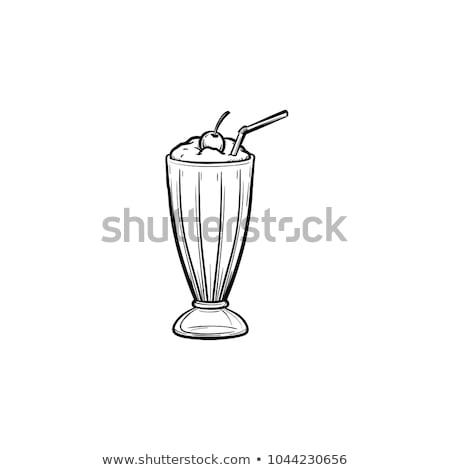 Milkshake icon vector schets illustratie teken Stockfoto © pikepicture