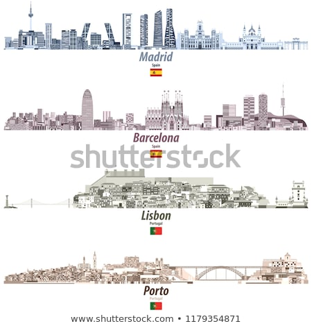 Resumen Lisboa horizonte color edificios Foto stock © ShustrikS