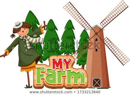 Word design for my farm with scarecrow and windmill Stock photo © bluering