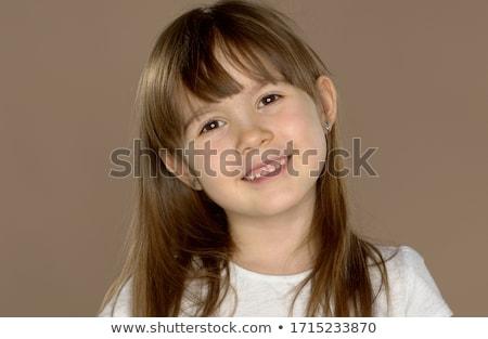 Portré kicsi aranyos 7 éves lány fehér Stock fotó © dash