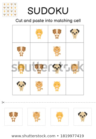 Sudoku for kids. Education developing worksheet. Activity page. Cats Stock photo © natali_brill