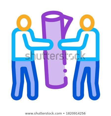 people carry rolled carpet icon vector outline illustration Stock photo © pikepicture