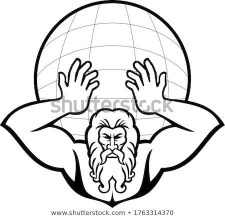 Atlas Holding Up World Front View Mascot Black and White Stock photo © patrimonio