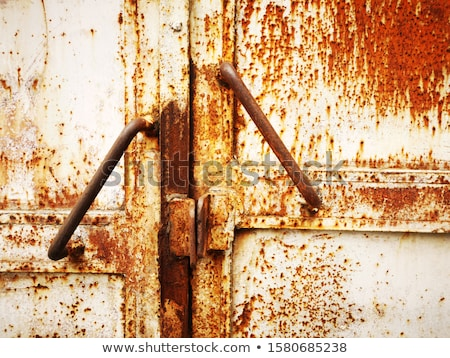 Foto stock: Enferrujado · metal · porta · vermelho · arenito · parede