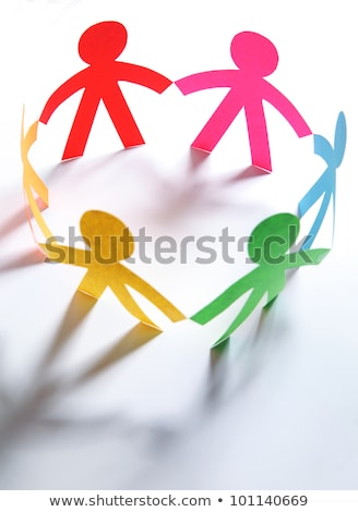 lavoro · di · squadra · colorato · carta · bambole · ombre · catena - foto d'archivio © Ansonstock