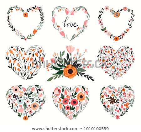 Floral coração coberto diferente flor preto Foto stock © toponium