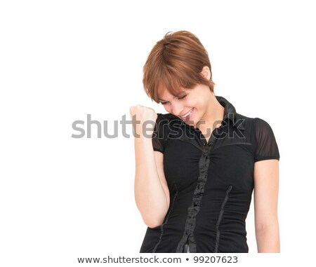 woman enjoying success with clenched fists stock photo © ilolab