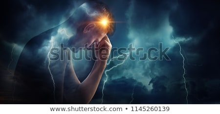 depressed head silhouette with dark rain cloud  Stock photo © adrian_n